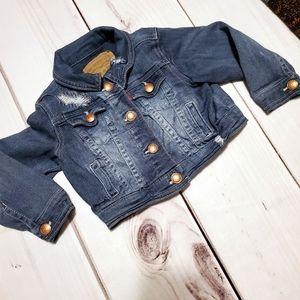 Levi's Distressed Jean Jacket Dark Blue Button